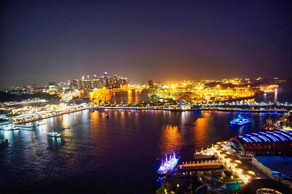 Aussicht auf Singapur vom Cable Car bei Nacht