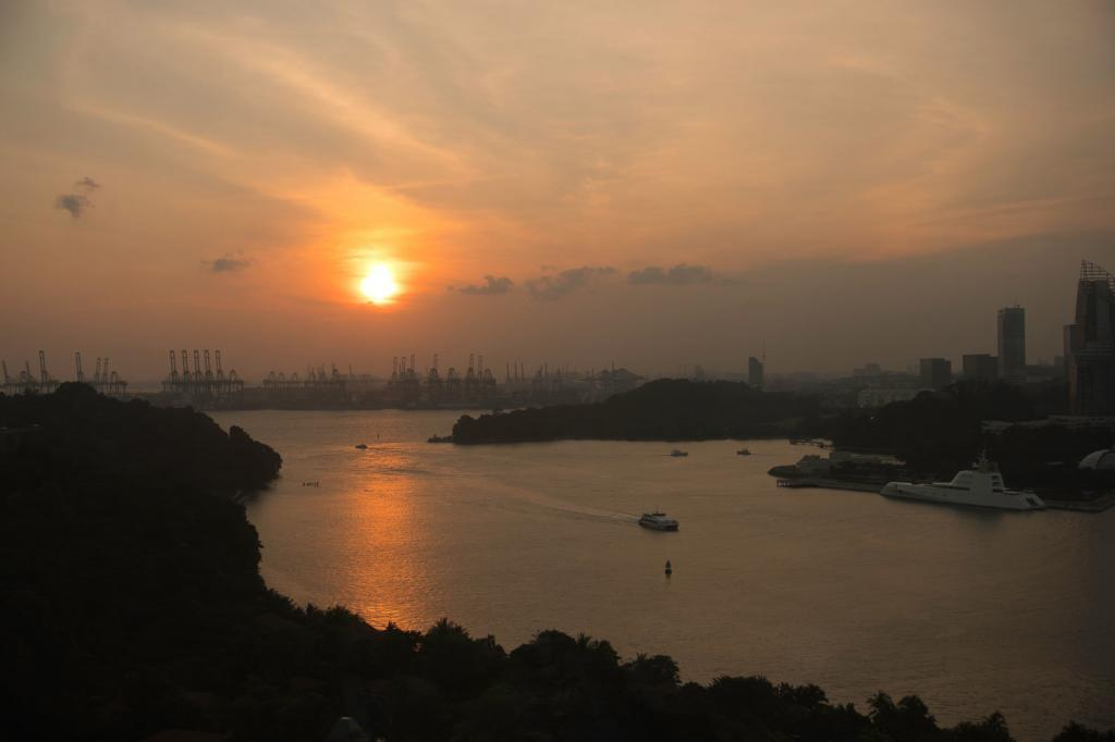 Aussicht auf Singapur vom Cable Car in Singapur