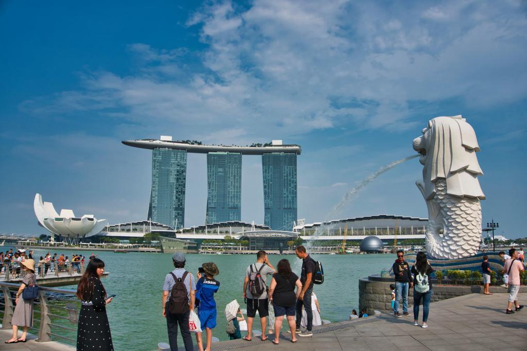 Marina Bay Sands und Merlion in Singapur