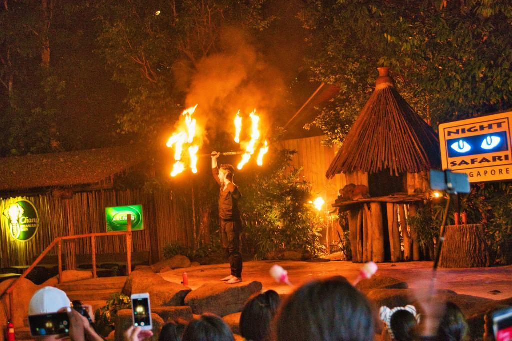 Feuerjonglage während der Night Safari in Singapur