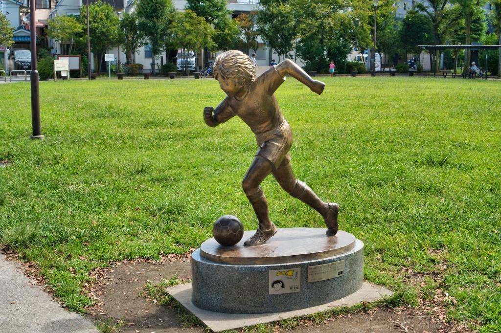 Captain Tsubasa: Taro Misaki Statue, Bronzeskulptur.