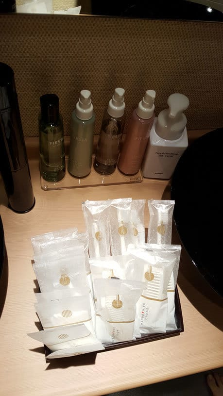 Gute Ausstattung an Hygieneartikeln im Hotel.