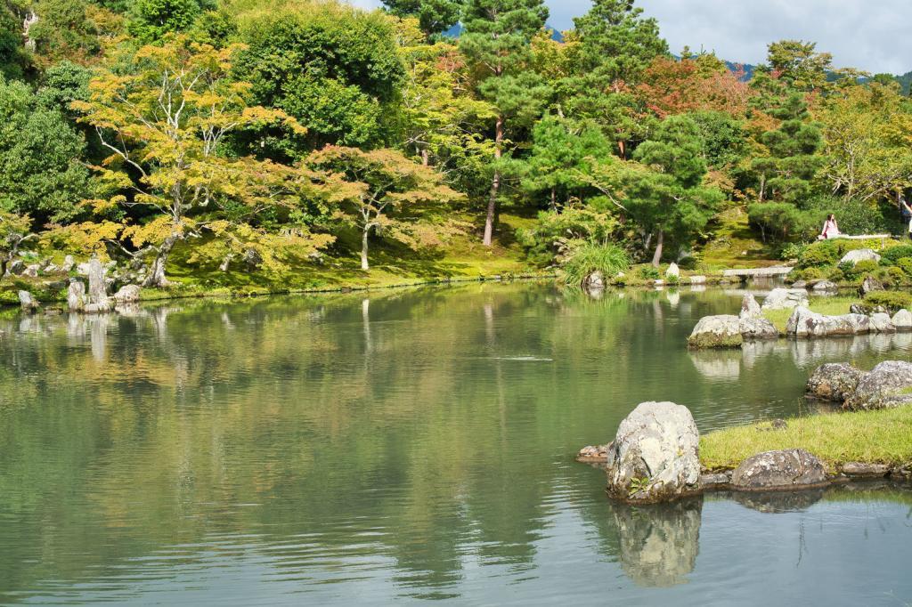 Teich im japanischen Garten im Tenryu-ji in Kyoto.