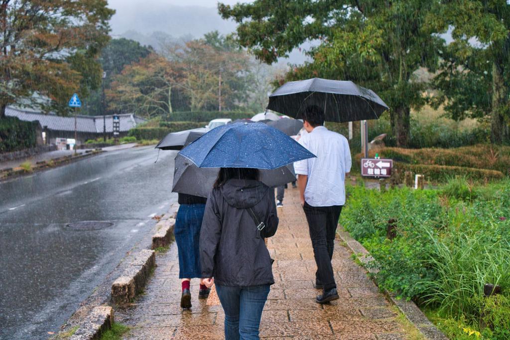 Strömender Regen in Asuka beim Ishibutai-Hügelgrab.