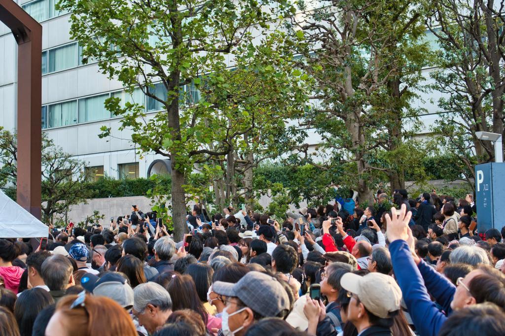 Alle versuchen mit ihren Handys Fotos vom neuen Kaiserehepaar zu bekommen.