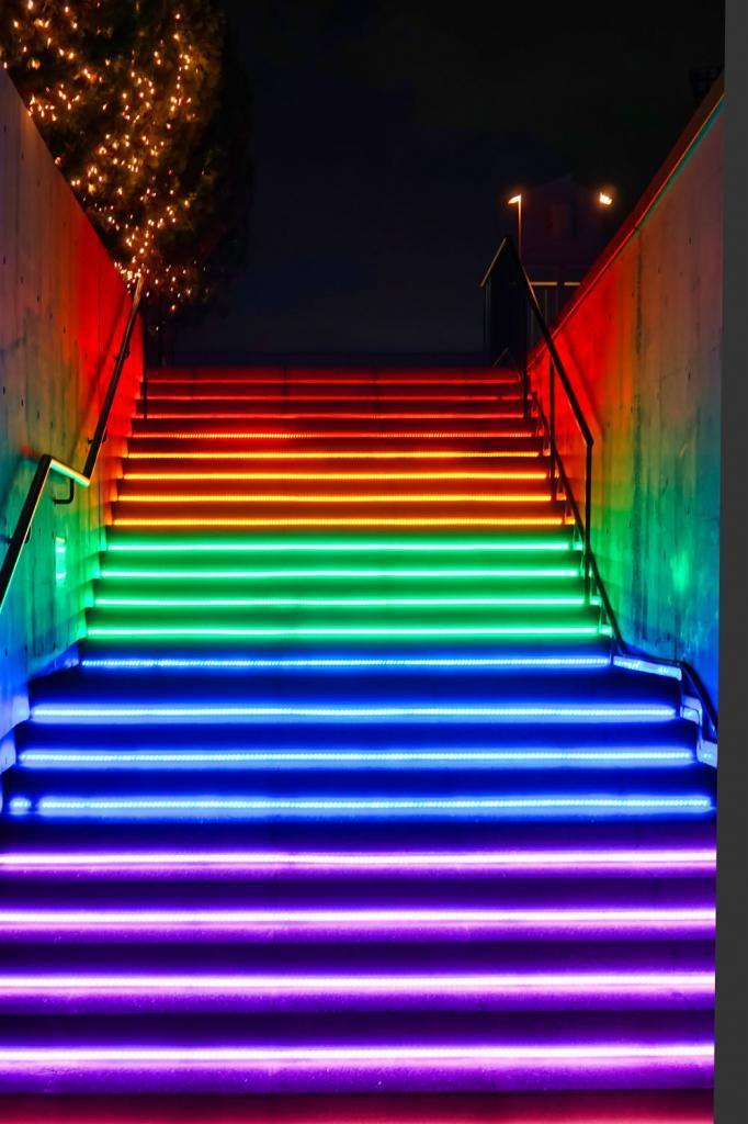 Tokyo Mega Illumi, Illumination an der Pferderennbahn in Tokio: Eine Treppe in Regenbogenfarben.