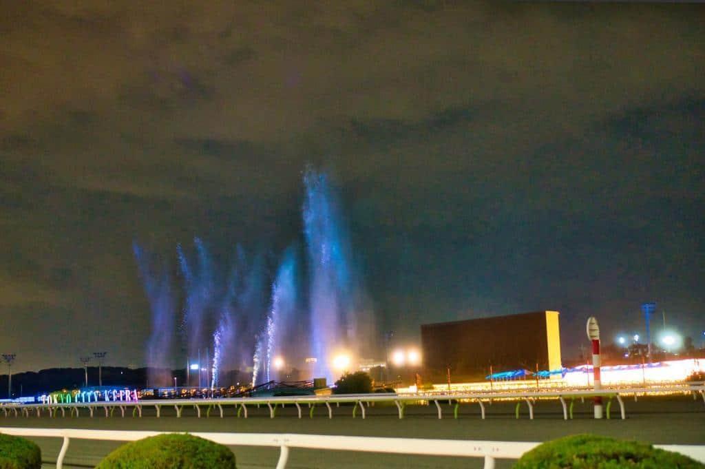 Tokyo Mega Illumi, Illumination an der Pferderennbahn in Tokio: Illuminierte Fontäne.