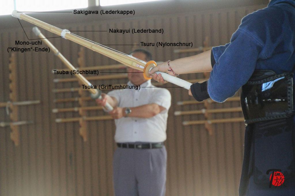 Aufbau eines Shinai mit Beschriftung der einzelnen Bestandteile.