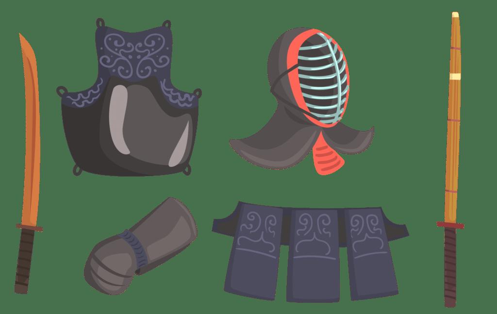 Illustration der Kendo Ausrüstung bestehend aus Bokuto, Do, Men, Kote, tare und Shinai.