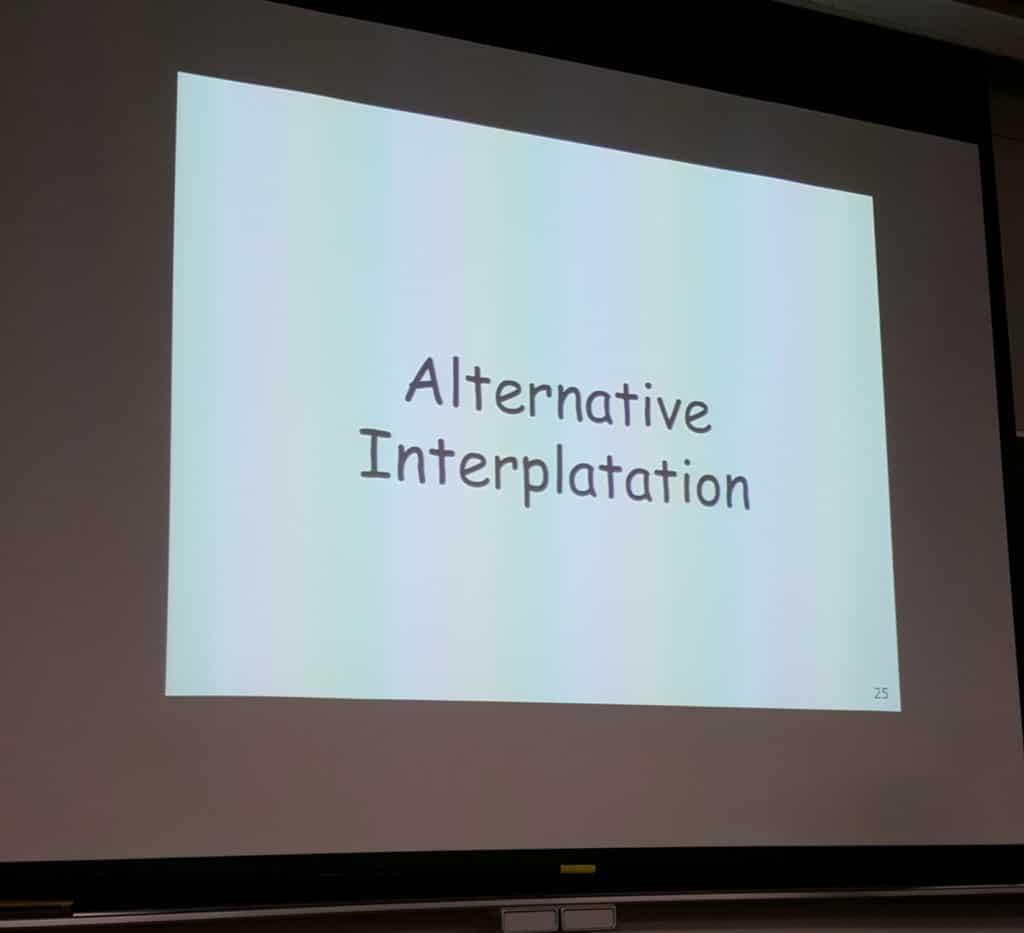 Japanische Universitäten haben nur wenige Vorlesungen auf Englisch. Dieses Bild zeigt eine Slide einer Vorlesung auf Englisch mit einem Rechtschreibfehler.