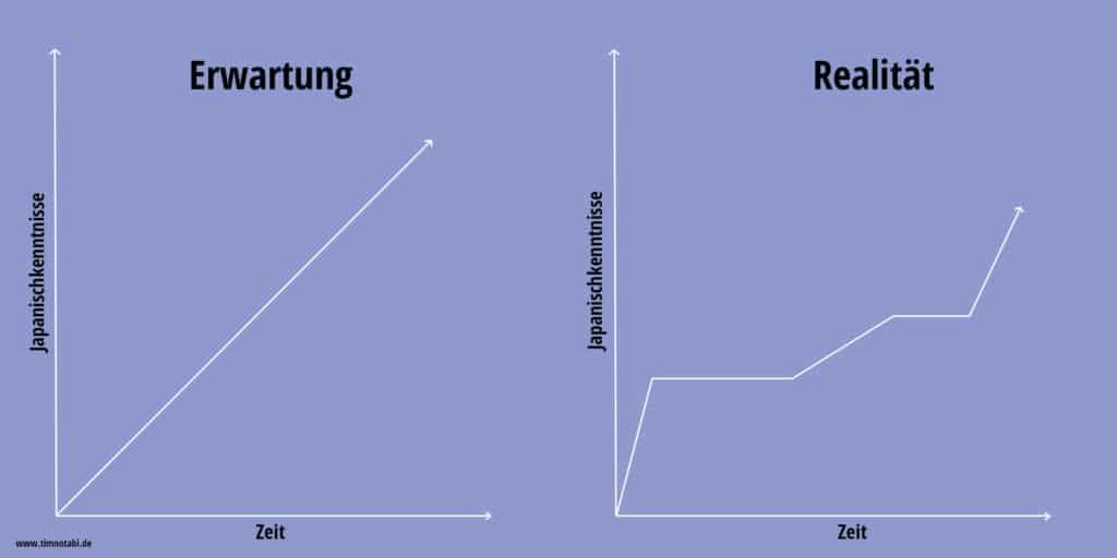 Fehler beim Japanischlernen: Zu hohe Erwartungen. Zwei Graphen die den Lernprozess verdeutlichen.
