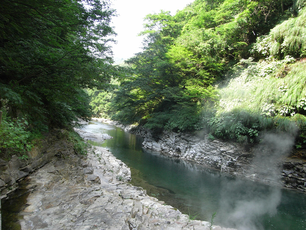 Fluss in Japan im Sommer