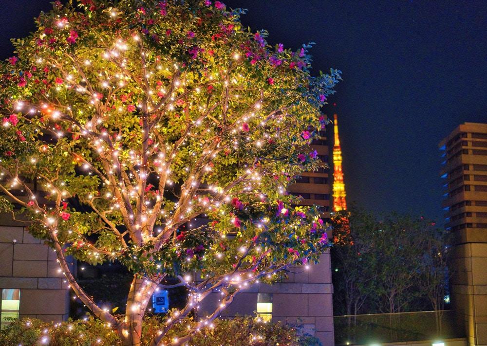 Illumination beim Roppongi HIlls Einkaufszentrum mit Blick auf den Tokyo Tower im Winter