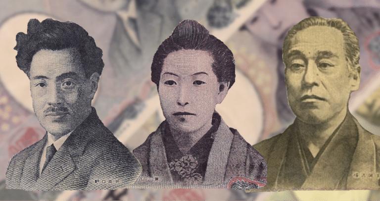 personen auf den japanischen Geldscheinen